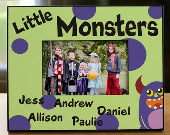 Personalized Little Monsters Printed Frame, Halloween Picture Frame, Personalized Halloween Frame