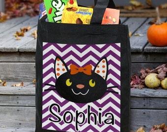 Black Cat Trick or Treat Bag, Halloween Bag, Personalized Trick or Treat Bag
