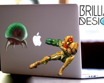 Metroid, Samus,Metroid decal,MacBook Pro, Macbook Air,Gift, Sticker, Vinyl Decal, Geekery, Nintendo, Gift, for him, for her