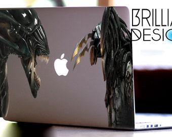 Alien Vs Predator, Alien Vs Predator Decal,Sticker,Skin,MacBook Pro, Macbook Air,Gift, Geekery, Area51,Roswell Crash, for him,for her