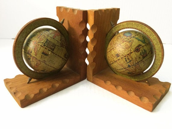 Vintage Wood Globe Bookends Spinning World Globes Library Home
