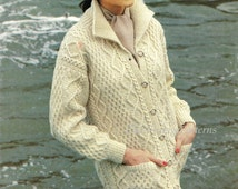Knitted Jacket ... Ladies Aran Cardigan ... Stylish Warm and Cosy ... Long Line Knit ... Instant Download ... Cardigan with Pockets