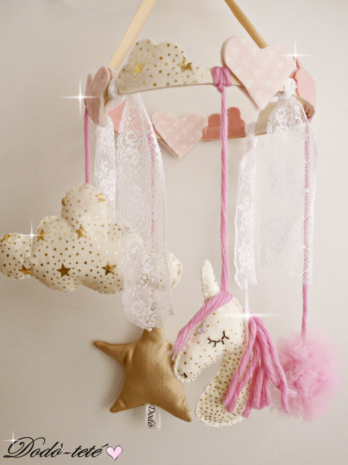 Https Etsy Com Listing 246848067 Magic Unicorn Mobile Pink Star And Cloud