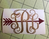 Glitter arrow monogram Decal or car, laptop, cup, cell phone, Yeti, iphone, notebook, tumbler, boots, rambler, cooler