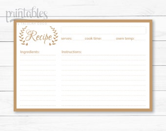 Editable Recipe Cards - Kitchen Organization - Brown Recipe Card - 4x6 Recipe Cards - Mocha Recipe Card Download - DIY Recipe Card Template