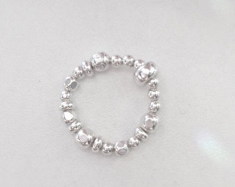 Sterling Silver Beaded Adjustable Ring