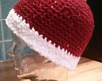 Santa Christmas Hat, Sequined Chunky Wool, OOAK