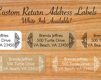 Custom Return Address Labels - Custom Clear Labels - Clear Address Labels - Kraft Address Labels - Wedding Address Labels