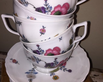 Set of 4 vintage French Limoges Ceralene china teacups and saucers