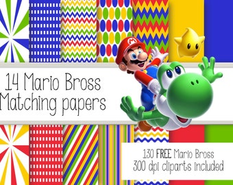 14 Mario Bros Matching papers.  Digital Papers + 130 FREE Cliparts.