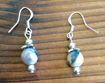 Pale pink and gray Jasper stone dangle earrings in Sterling silver.   Artisan jewelry