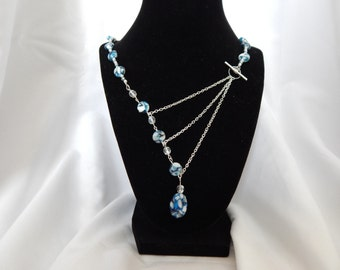 Blue and silver 3 chain necklace