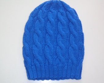 Luxury beanie 100% finest wool not sratching with cable kntts