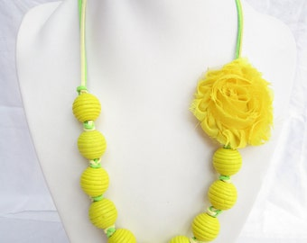 New,Yellow Necklace,long necklace,wooden beads necklace,flower necklace,bridesmaid Necklace,Wedding gift Handmade,green,holiday necklace