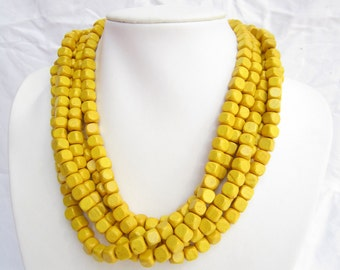 Multistrand Necklace,chunky necklace,wooden beads necklace,yellow necklace,bridesmaid Necklace,Wedding gift,choker necklace,holiday necklace