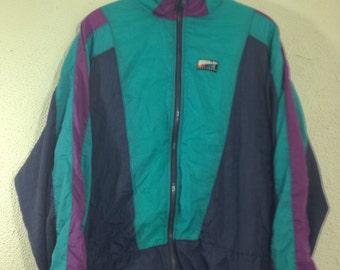 Vintage 90s track jacket turquoise color block hip hop wind suit jacket M