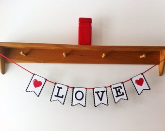 Love Heart Banner - decorations - garland - bunting banner - party supplies - wedding