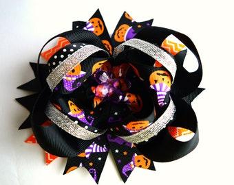 Halloween Hair Bows Halloween Headband Halloween Baby Girl Orange Purple Black Hair Bow Boutique Hair Bow Girl Hair bow Baby Hair bows