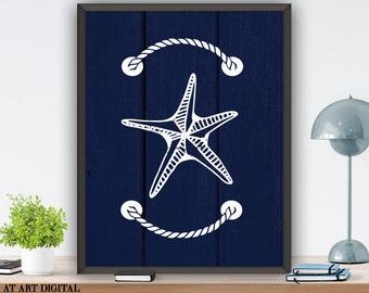 Bathroom Decor Starfish Wall Art Nautical Nursery Art Printable Wall Art Nursery Children Room Wall Decor Art Print Instant Download
