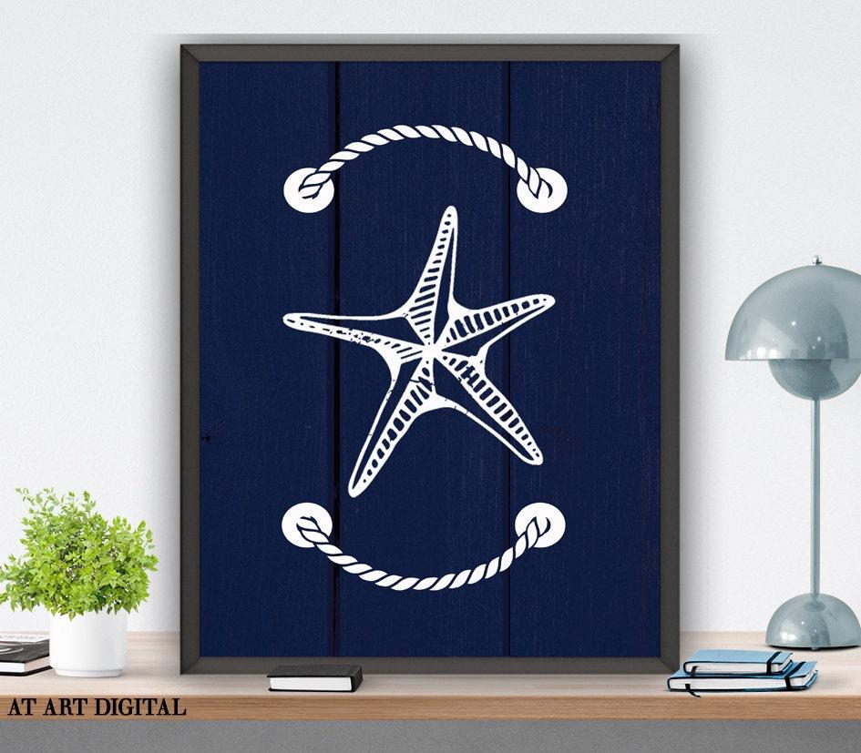 Nautical Bathroom Decor On Sale: Bathroom Decor Starfish Wall Art Nautical Nursery Art