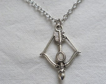 Crossbow necklace,silver crossbow necklace,cupid necklace,fandom,crossbow jewellery,charm necklace,gift,weapon necklace,bow and arrow,d