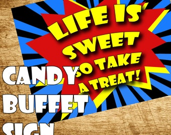 Printable Superhero Party- Superhero Birthday, Superhero Party Decorations- Candy Buffet Sign- Comic Book party