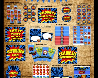 Superhero Party- Superhero Birthday, Superhero Party Decorations, Printable Party- Comic Book Party Complete Party Package