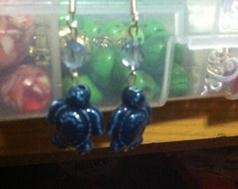 Dark Blue Turtle Dangle Earrings