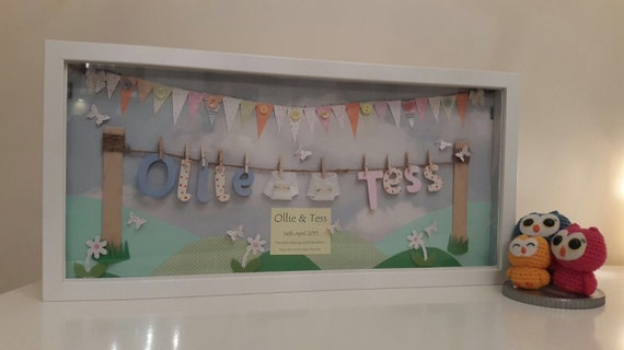 Basket Weaving Nuneaton : New twin baby keepsake frame from thecraftyowlcompany on
