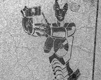 Street Art, California, Selfie, Sidewalk, Path, Black and White, Robot, Free The Nipple, Phone, Camera, Graffiti,