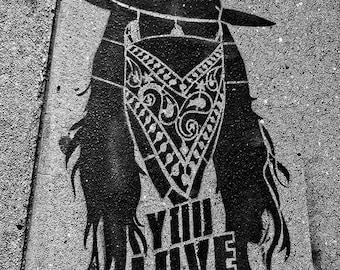 Street Art, California, Sidewalk, Path, Black and White, Graffiti, Cowboy, Robber, You Love the Man,
