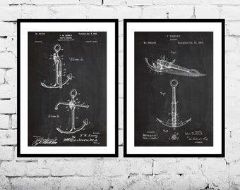 Nautical Decor - Ships Anchor Patent, Boat Anchor Patent, Nautical Wall Art, Nautical Decor, Nautical Anchor Art, Patent Pairs