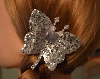 Glitter Butterfly Hair Clip, Silver Butterfly Clip, Glitter Butterfly Clip, Girls Hair Clip, Christmas Hair Clip, Sparkle Butterfly Clip