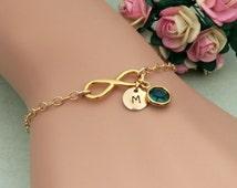 Gold Infinity Bracelet, Personalized Infinity Jewelry, Initial Bracelet, Birthstone Bracelet, Gold Bracelet, Bridesmaid Bracelet