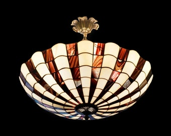 Stained glass ceiling lampshade. Vintage Tiffany lightning, Big lamp fixture. Handmade stained glass lampshade.