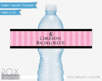 Victoria's Secret Bachelorette Party Water Labels, Printable Labels, Digital – Customized