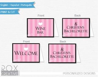 Victoria's Secret Food Tents, Bachelorette party food labels, Digital Design, Double Side Design