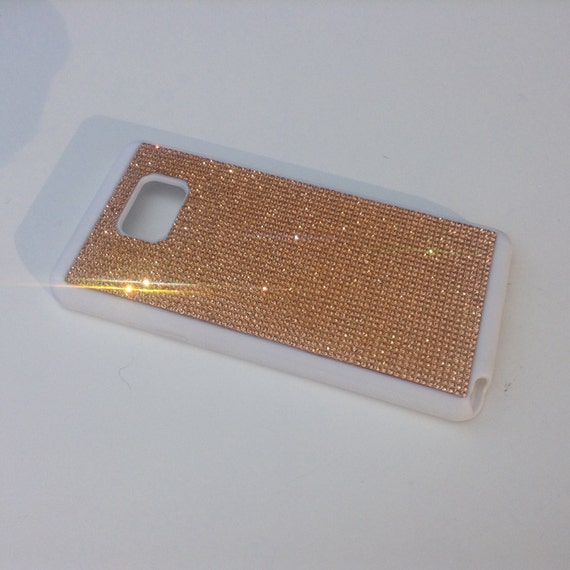 Galaxy Note 5 Rose Gold Crystals on White Rubber Case. Velvet/Silk Pouch Bag Included, Genuine Rangsee Crystal Cases.