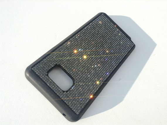 Galaxy Note 5 Black Diamond Rhinestone Crystals on Black Rubber Case. Velvet/Silk Pouch Bag Included, Genuine Rangsee Crystal Cases