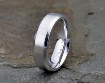 Mens Titanium Wedding Band, brushed Polished Beveled Edge 6mm , His, Hers,Titanium Anniversary Rings, Bands, Custom Titanium Rings