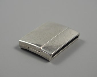 30mm Antique Silver Rectangle Magnetic Clasp, Regaliz Clasp for 30mm flat leather, European made clasp