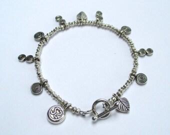 Hill Tribe Silver Charm Bracelet, Silver Bracelet