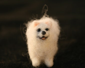 Needle Felted White Pomeranian
