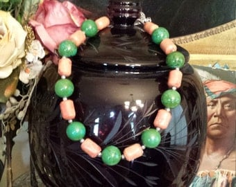 One strand turquoise and coral necklace