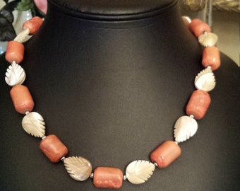 One strand coral and cut shell leaves necklace