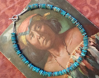 One strand beaded natural turquoise flat beaded necklace