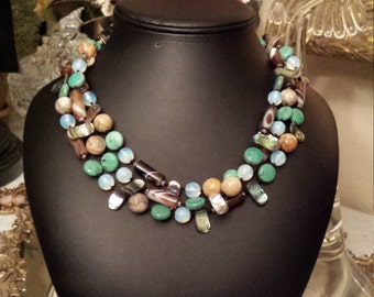 three strand Semi-precious stone necklace designed by petronella designs