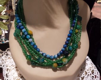 eight strand beaded jade and jasper necklace