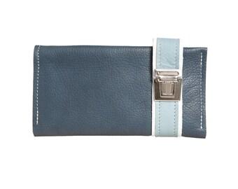 Blue wallet for men, finest handicraft of HAEUTE, leather wallet