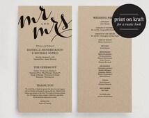 Wedding Program Printable Template - Printable Program - DIY Printable PDF Instant Download - Kraft #BPB108